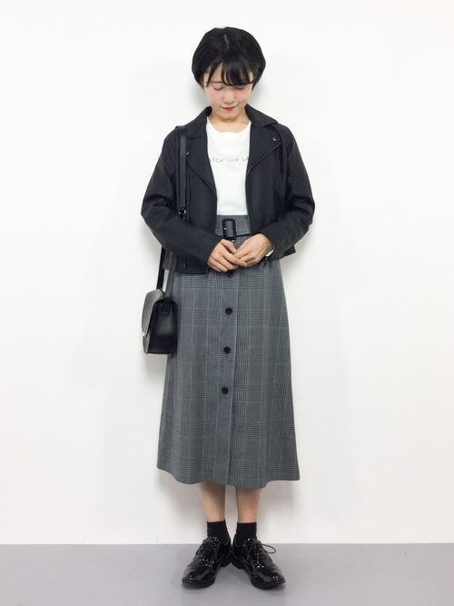 [SHIPS for women] グレンチェックボタンフレアスカート