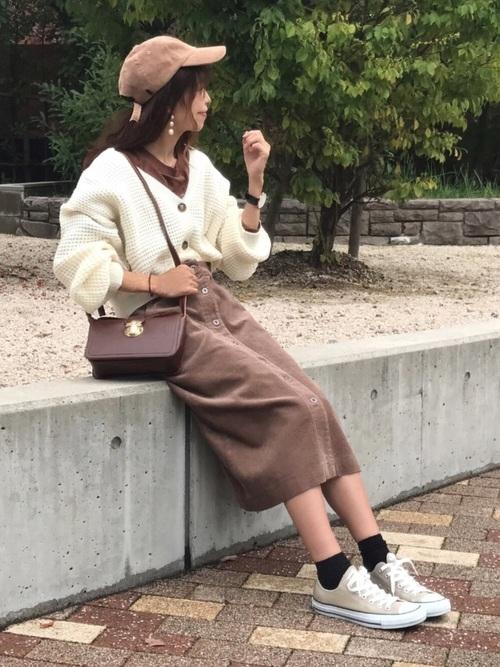 コーデュロイフロントボタンスカート2