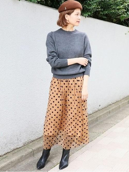 チュールドット スカート