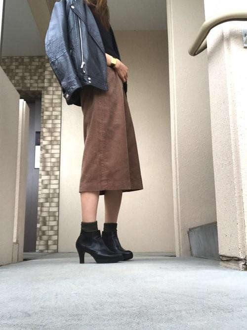 コーデュロイフロントボタンスカート6