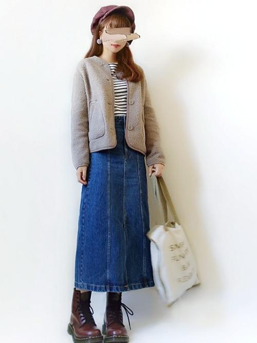 ロング丈スカートを使ったキュートなコーデ