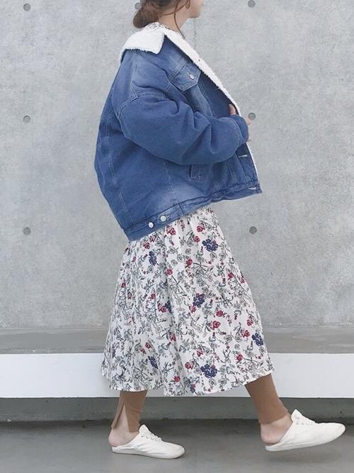 花柄ワンピース×デニムジャケット2