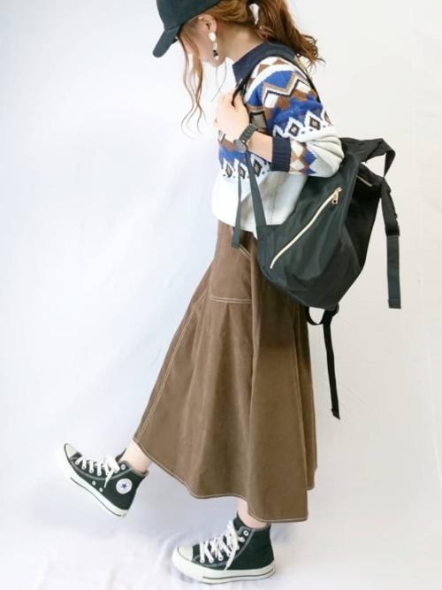 ブラウンフレアスカート