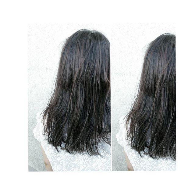黒髪に近いブルージュカラー