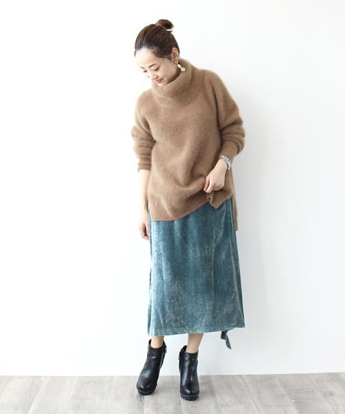 rayon silk velvet SK(ベルベットペンシルスカート)