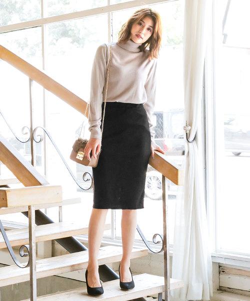 ポンチ素材ウエストゴムタイトスカート