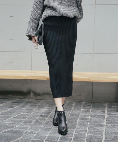 [ANDJ] 【飯窪春菜さん着用】ハイウエストリブニットひざ丈スリットスカート