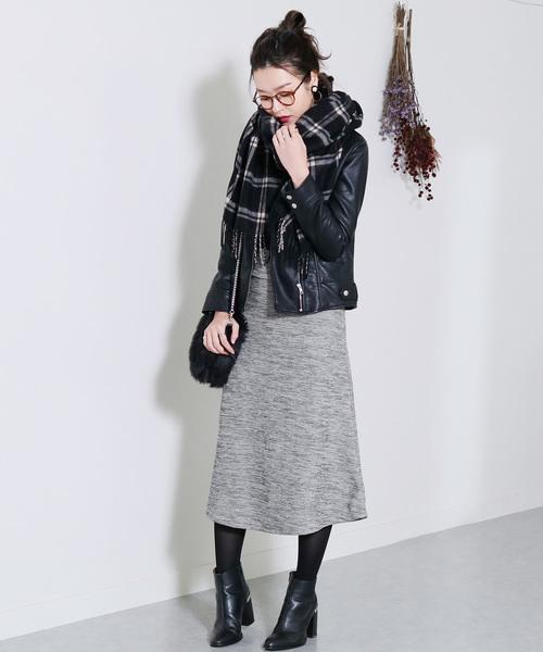 大人のきれいめスタイルにぴったり◇暖か裏起毛で防寒も◎ウエストゴム細リブフレアスカート