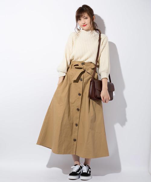 ポケット付トレンチ風ハイウエストロングスカート