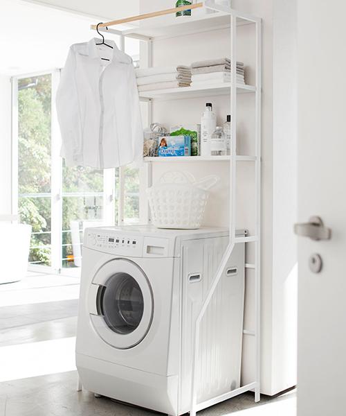 洗濯機上を収納スペースに