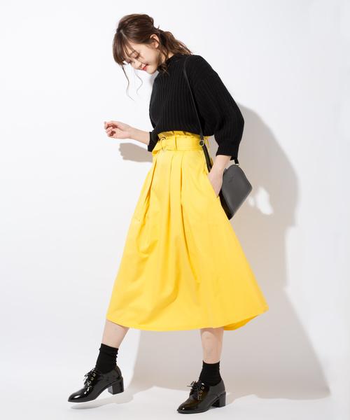 ポケット付ハイウエストタックミモレ丈スカート(ベルト付)