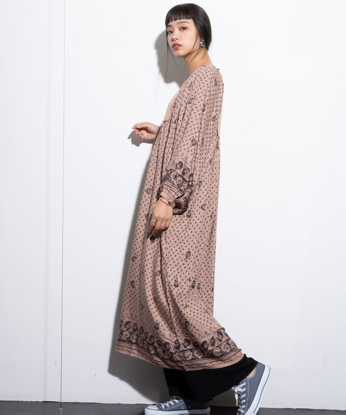 [LANDWARDS] 【MADE IN INDIA】花柄ノーカラーロングワンピース