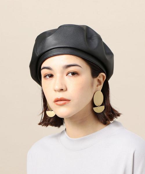 <RACAL>フェイクレザー ベレー帽