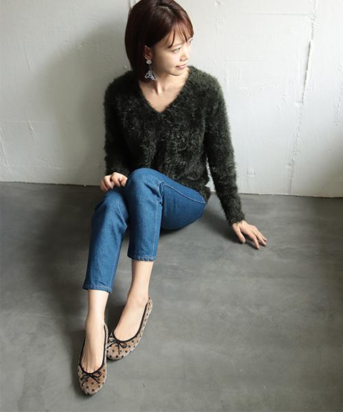 [SESTO] 履き心地柔らかで足に馴染む、こなれフィットバレエシューズ/フラットパンプス / グレンチェック / レオパード