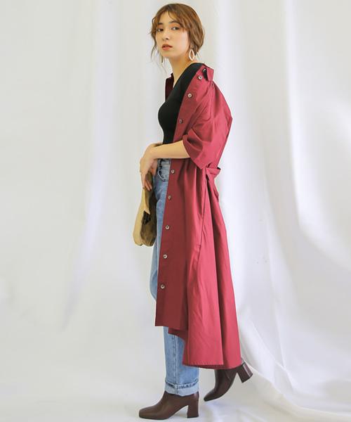 [select MOCA] 3WAY ウエストリボン付きボリュームフレアスカートシャツワンピース