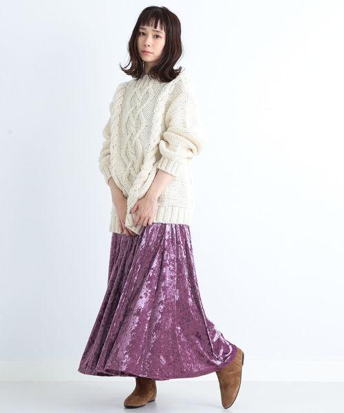 CAROLINA GLASER / ベロア ロングスカート