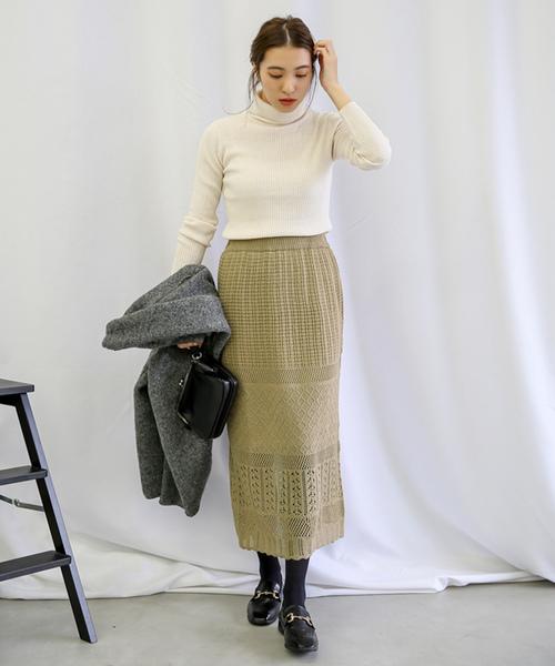 ミックス編みウエストゴムロングスカート1