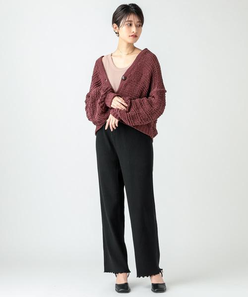 [mystic] effortless pants カットリブパンツ