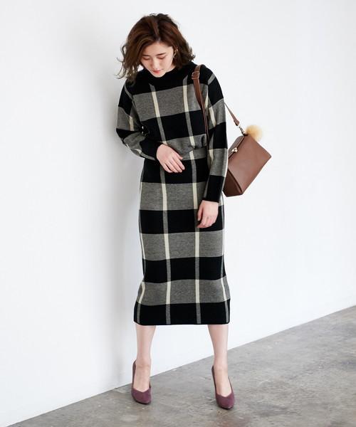 [ROPE' PICNIC] 【WEB限定】チェックジャガードスカート