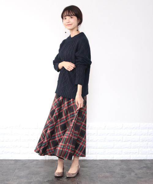 カシミアタッチケーブル切替プルオーバー / ニット