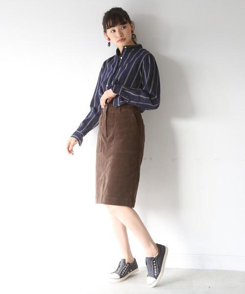 ストレッチコーデュロイタイトミディアムスカート