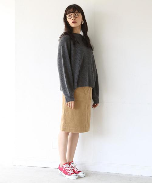 [coen] ストレッチコーデュロイタイトミディアムスカート