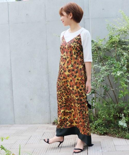 レオパードプリントスリップドレス