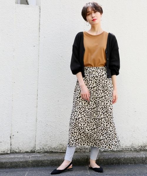 ドット/レオパードスカート