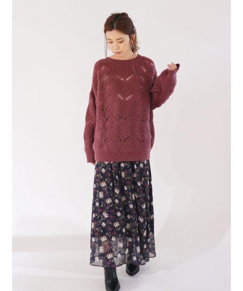 [Ungrid] フラワープリントラメスカート