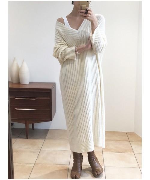 ソフトリブニットドレス