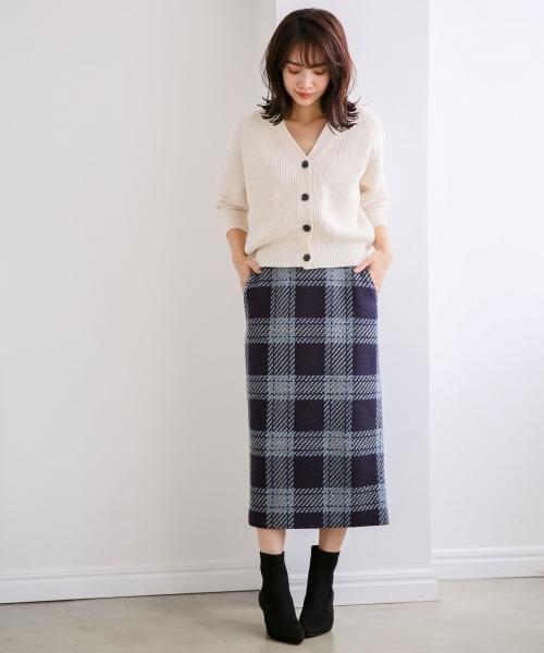 ツイードチェックタイトスカート