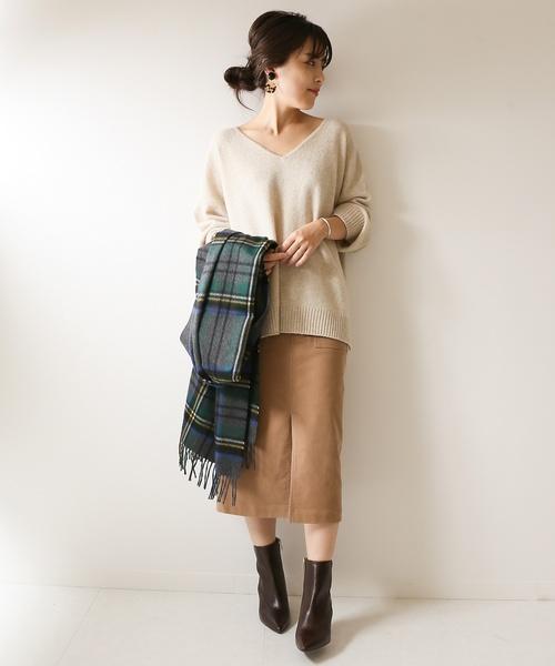 カルゼスエードストレッチタイトスカート