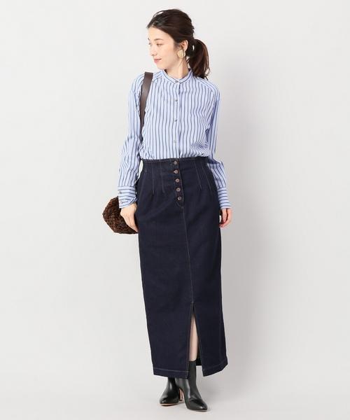 ボタンフライデニムタイトスカート