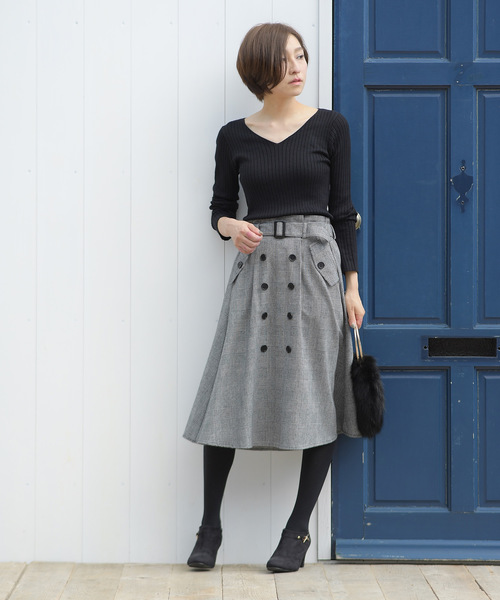 ベルト付トレンチフレアースカート14