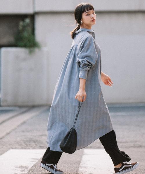 [LANDWARDS] 【Made in JAPAN】チェックシャツワンピース