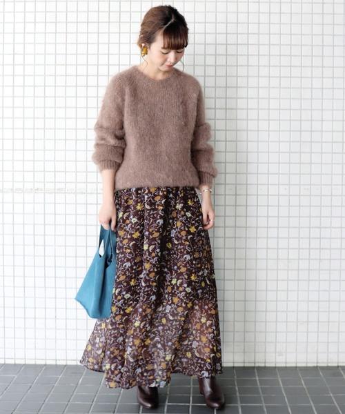 [IENA] FLOWER PRINT マキシスカート◆