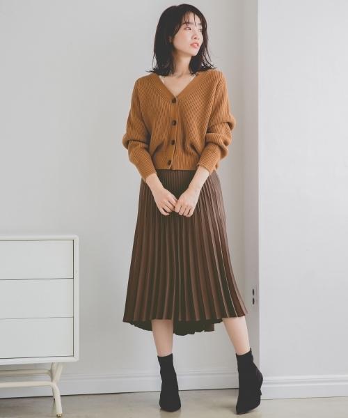 Pサテンアシメプリーツスカート 809012