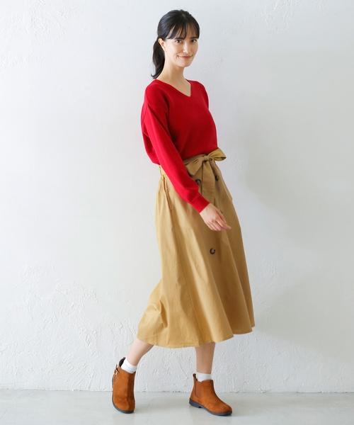 ポケット付き トレンチ風 ツイルスカート3