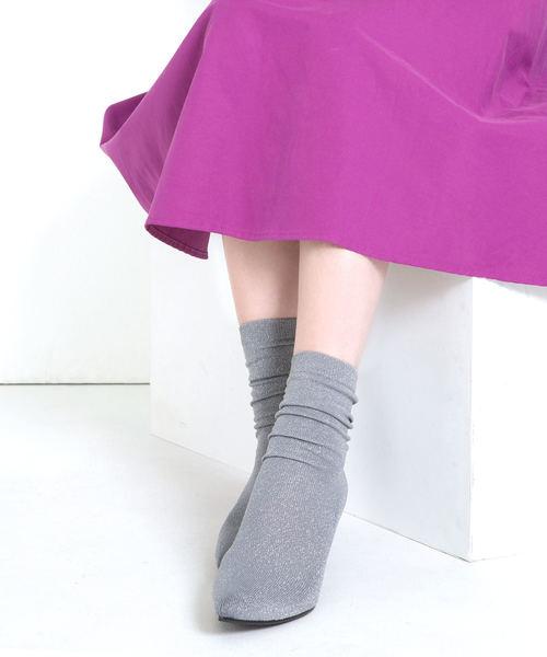 [MAMIAN] ポインテッドトゥソックスブーツ(7cmヒール)