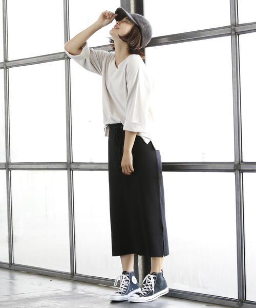 ミラノリブタイトスカート ブラック