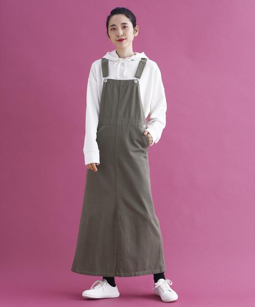 綿ツイルロングジャンパースカート