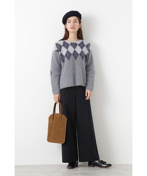 [HUMAN WOMAN] ◆綿ウールギャバミニベルト付ワイドパンツ