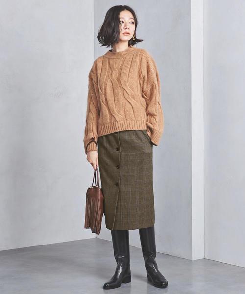 [UNITED ARROWS] UWSC フロントボタン チェック タイトスカート
