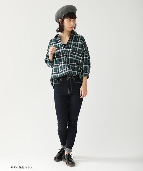 ゆるチェックシャツグリーン