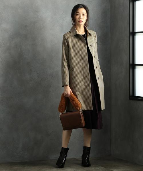 T/Cガンクラブチェック ステンカラー コート