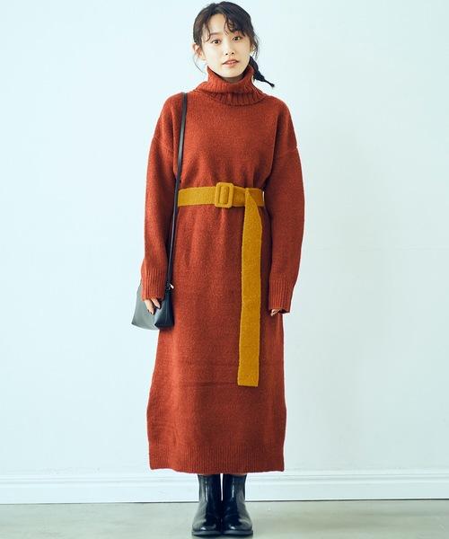 [haco!] <高橋愛さんコラボ>ラブ&ピースプロジェクト 配色ベルトのタートルニットロングワンピース