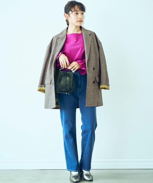<高橋愛さんコラボ>ラブ&ピースプロジェクト 裏地配色がかわいいチェック柄のダブルボタンジャケット