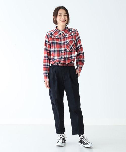 BOY ワーク チェック 襟デタッチ シャツ