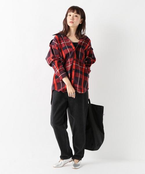 バッファローチェックオーバーサイズシャツレッド
