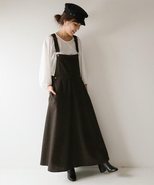 【MITTERNACHT】ツイードマキシジャンパースカート◆